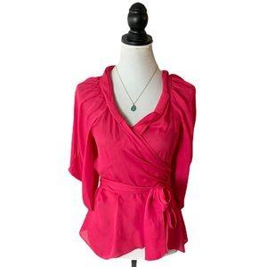 BCBGMaxAzaria 100% Silk Hot Pink Wrap Blouse XS